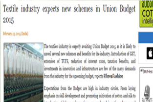 Textile Industry expects new Schemes in Union Budget 2015
