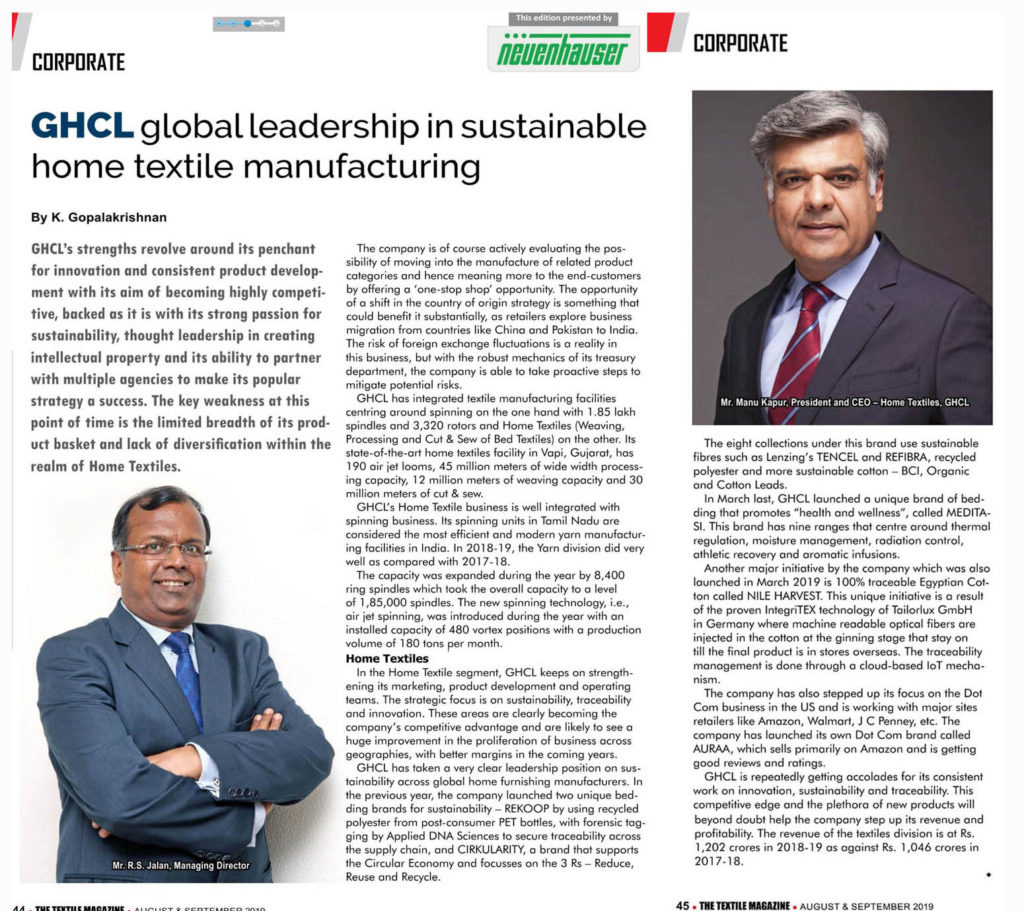 Feature on GHCL in The Textile Magazine